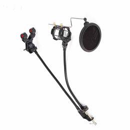 Mikrofonhalterung online-2 In 1 Einstellbare Telefon Mikrofonständer für Computer Audio Studio Vocal Bracket Unterstützung Desktop Stativ Mic Clip Halter