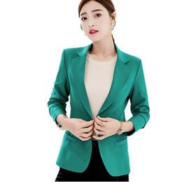 Blazers de gran tamaño online-B3337 2019 primavera otoño e invierno ropa de mujer nueva moda tamaño grande show delgado casual color puro Blazers barato al por mayor # 408848