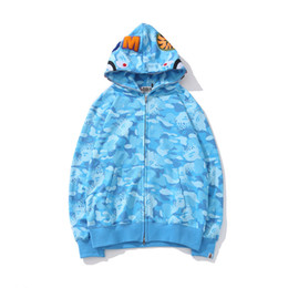 Hoodie adolescente online-Lover Large Size Allentato Rosa Blu Camo Printed Sweater Teenager Hip Hop Zipper Cardigan Hoodies Coat