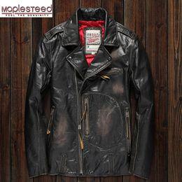 MAPLESTEED Vintage Original Pilot Lederjacke Herren Original Kuh Motorrad Herren Vintage Jacke Rot Braun Motor Biker Mantel M105