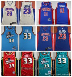 a84814ddd0a Retro Detroit 2019 Pistons Basketball Jersey 0 Andre Drummond 33 Grant Hill  23 Blake Griffin 11 Isiah Thomas Stitched Basketball Jerseys