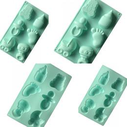 Il silicone muove il bambino online-Baby Shower Stampi in silicone Ciuccio Modellazione del piede Stampo da forno Stampo 6 fori Posizione Stampo sapone fai da te Vendita calda 5xg L1