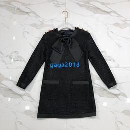Bogenjackenrock online-Frauen Mädchen Langarm Kleid Tweed Pailletten Jacke Mantel Langarm schwarz langes Hemd Kleid Rock High-End-Kanal Tweed Kleid mit Schleife