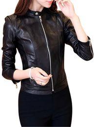 Veste en cuir synthétique en Ligne-Zada Veste en cuir synthétique pour femmes à manches longues col montant Veste cintrée