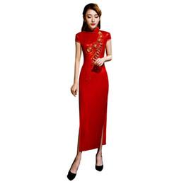 Xangai história qipao vermelho chinês tradicional dress tecidos de seda brilhante roupas das mulheres chinesas longo floral bordado cheongsam de Fornecedores de imagens de abaya dress