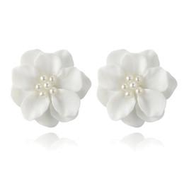 fiori coreani bianchi Sconti Coreano bella bianco fiore perla pendente cerchio orecchini moda design bello accessorio speciale fiore orecchini B1