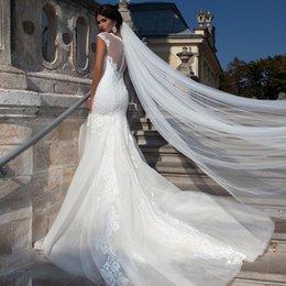 Uma camada de véus de noiva on-line-Véus de noiva elegantes com corte de ponta Catedral comprimento / 3m / 5m / 10m Super longa camada de um tule branco / marfim hotselling véus de noiva