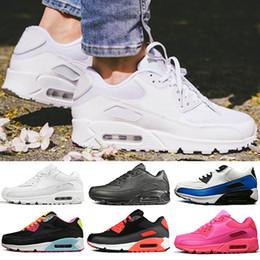 Cojines rosa baratos online-nike air max 90 Cushion Running Shoes para hombres mujeres Rosa Triple blanco negro Gris Amarillo Hombres Zapatillas de deporte al aire libre Zapatilla deportiva NIK off 36-45