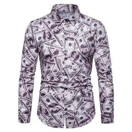 Impresión en dólares online-All Dollar Print Camisas casuales para hombre Camisa de manga larga Camisa con cuello vuelto Diseñador Trajes Ropa para hombre