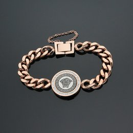 grossistas pulseiras magnéticas para homens Desconto Venda por atacado de aço de titânio de comércio exterior venda quente pequena cabeça redonda pulseira áspera 18 K rosa de ouro pulseira de mulheres de comércio exterior