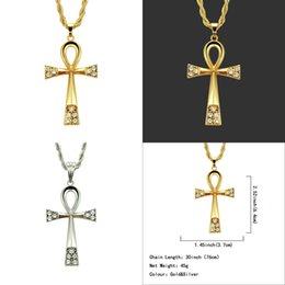 2019 colar de crucifixo de ouro 14k Hip Hop Broca pendeloque Cut colar de homens e mulheres Ornamentos mens 14k correntes de ouro Crucifixo Cruz coleira de cachorro colar de animais de jóias moeda colar de crucifixo de ouro 14k barato