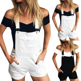 denim jumpsuits women rompers Promo Codes - Hxroolrp rompers womens jumpsuit Loose Denim Bib Hole Pants Overalls Jeans Demin Shorts Jumpsuit Romper womens F1