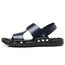 código de sandalias Rebajas Sandalias antideslizantes Big Code de ocio para hombres 2018 Verano Nueva moda Zapatos gruesos de playa antideslizantes y resistentes al desgaste con fondo grueso transpirable