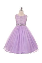 2019 in vendita lilla designer abiti per bambini organza una linea gioiello collo corpetto di pizzo cintura di perline abbigliamento formale ragazze abiti da festa da
