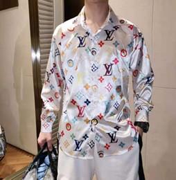 платье с ящиками Скидка Новый европейский и американский стиль дизайнерская рубашка с цветным рисунком Тонкая мужская повседневная рубашка женская рубашка Medusa