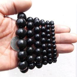 Gesundheitspflege armbänder online-Naturstein Nadel Perlen Armbänder 6mm 8mm 10mm 12mm Schwarz Stein Gesundheitswesen Armband Armreifen für Frauen Schmuck Geschenk Großhandel Billig