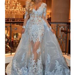 vestidos de fiesta rosa cariño suave Rebajas Azul musulmán vestidos de noche 2019 sirena con cuello en v manga larga de encaje de tul islámica Dubai Dubai árabe largo vestido de noche vestido de fiesta