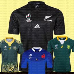 camiseta de fútbol de australia Rebajas barato 2019 2020 Copa Mundial de Irlanda Azul Jersey África del Sur Australia Frances MEN RNL Rugby jerseys S-3XL TODOS Negro Verde baratas del fútbol