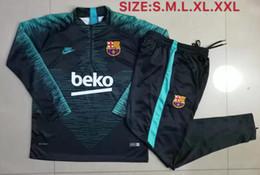 Meias ternos on-line-19 20 novas jaquetas de futebol se adapte FCB azul sportswear Messi SUAREZ formação de adultos manga longa meia zipper fato de treino Barcelona