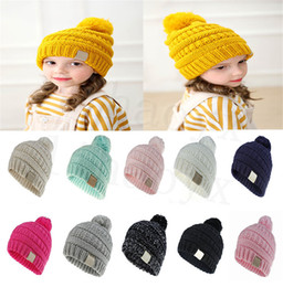 Children s crochet beanie hats online-11 color children's hat solid color children's woven crochet hat baby girl boy fashion winter warm hat accessories DC912