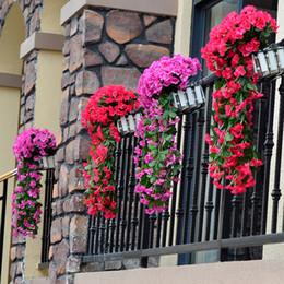 viti fiorite decorative Sconti Nuova Viola fiore artificiale decorazioni di simulazione parete Hanging Basket Fiore Orchid Silk Vite decorativi Fiori corone