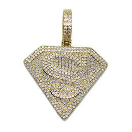 Iced Out Superman Sign Pendant Necklace Collana in argento placcato in oro massiccio con pendente per le donne degli uomini da