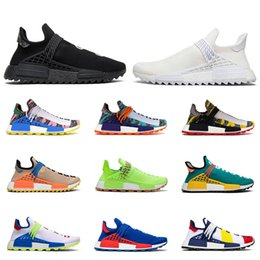 spring green lawn Promo Codes - New human race hu Pharrell Williams men women running shoes NERD Black Blank Canvas Homecoming Solar Pack Mother mens trainer sports sneaker