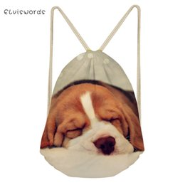 2019 cão impresso mochilas ELVISWORDS Mulheres Pequenas Com Cordão Mochila Cães Fofos Impresso Saco de Viagem Feminino Satchel Escola Meninas Mochilas de Praia de Compras Casuais cão impresso mochilas barato