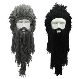 Cappello di barba da sci del beanie online-A maglia parrucca creativo Barbaro Beanie Cappello di Halloween Cosplay Unisex vichingo Barba cappello di inverno caldo divertente folle Ski Mask Cap