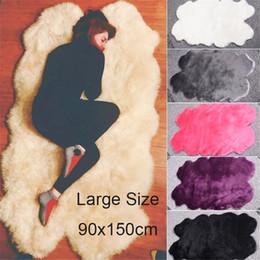 Corridore tappeto blu online-Enipare Super Large lavabile pelle di pecora pelliccia tappeti di lana Super Soft Runner Tappeti 90 * 150 cm Fluffy Carpet Home Chair Decoration