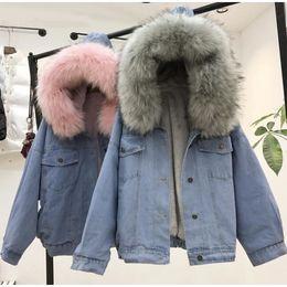 2019 imagens naturais do peito Denim Jacket das mulheres com pele do inverno Jeans com capuz Velvet Brasão Feminino Faux Fur Collar 2019 acolchoado Blusão Bomber Windbreake