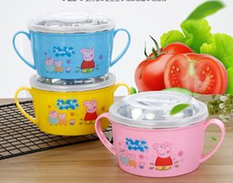 pig bowl Promo Codes - Sales!!! Free shipping Wholesales 2019 Stainless steel sealed round crisper cartoon pig single layer outdoor family children fresh rice bowl