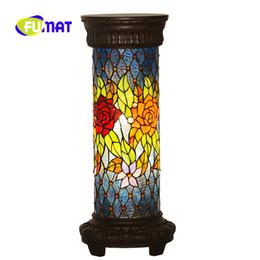 Lampade per telefono online-FUMAT Tiffany Roman Column Lamp Telephone Desk European Retro Rose Camera da letto Soggiorno Studio room Decorazione Lampada da terra