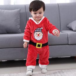 2019 dhl envío gratis ropa de bebé El más nuevo Baby Boy Santa Claus viste los monos de Navidad con un sombrero con capucha Encantador del mono Envío libre de DHL dhl envío gratis ropa de bebé baratos