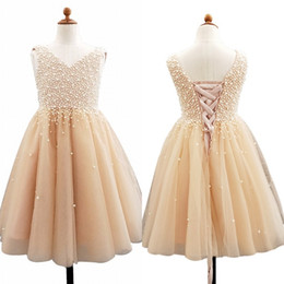 prom dresses samples Promo Codes - 2020 Flowers Girls Dress With Major Pearls Sleeveless Tulle Floor Length Girls Prom Party Bithday Gowns Real Sample Pageant Dresses