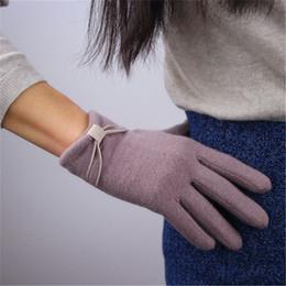 Gants tricotés gris en Ligne-Pure laine gants cinq doigts brun gris haricot couleur automne hiver élastique tricoté femme papillon noeud femme gants TB104