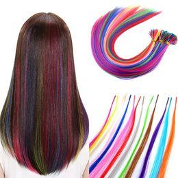 Наращивание волос на основе смешанных волокон онлайн-20inch Лот 100s Смешанные цвета радуги Красочные женщин Синтетические волокна I Подсказка Feather наращивание волос с микро бисером