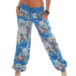 leggings de verão para mulheres Desconto Senhoras das mulheres Calças Florais Calças Compridas Baggy Leggings Plus Size Nova Chegada Fasion Verão Calças Perna Larga Feminino Plus Size
