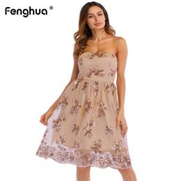 Fenghua moda feminina dress verão 2019 elegante strapless vestido de festa de lantejoulas feminino sexy fora do ombro sem encosto a linha de vestidos de