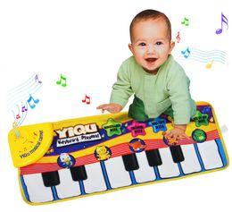 Teclado musical de juguete online-[ARRIBA] Baby Music Sport Game Play Singing Mat 72 * 28cm Kids Piano Keyboard para Animal Toy musical Alfombra Rastreo tapete de regalo regalo