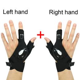 laisser la lumière Promotion 1 paire de gants rechargés à droite et à gauche pour randonnée en plein air, gants sans doigts avec lampe LED, gants de lampe de poche étanches