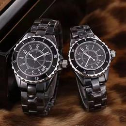 Рамка женщина часы онлайн-Роскошные часы 33 мм 38 мм черный белый роскошные женские часы Кварцевый хронограф VK движение керамическая рамка алмазные часы Леди наручные часы