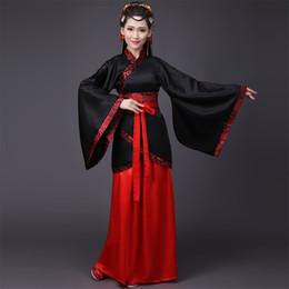 collants de ballet rose Promotion Noir Rouge Chine Hanfu Costumes De Danse Pour Femmes Princesse Robe Costume Traditionnel Danseur Folk Chinois Vêtements Vêtements