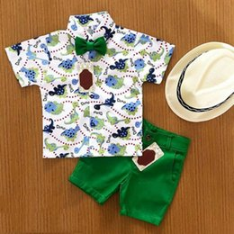pantalones cortos de dinosaurio verde Rebajas Pudcoco 2019 Summer 2PCS Toddler Kid Baby Boy Shirt Dinosaur Tops + Pants Green Shorts Beach Clothes Outfit Gentleman Set