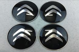 Ruedas de citroen online-Nuevo 56.5mm 65mm Citroen Logo Car Silver Wheel Hub Center Caps Emblem Styling etiqueta engomada de la rueda del coche para Citroen C2 C4L C5