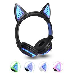Kinder kopfhörer online-2019 Cat Ear Wireless-Kopfhörer LED-Ohren Bluetooth-Kopfhörer blinkende leuchtende Headset-Gaming-Kopfhörer für Erwachsene und Kinder