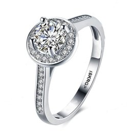 anillos de boda baratijas Rebajas Baratija de Garilina Cristal austriaco blanco Joyería romántica de plata Aniversario Regalo de fiesta Anillo de bodas para mujer R2214