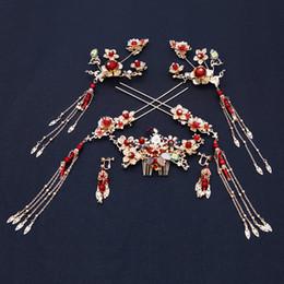 Ornamento de la flor del pelo nupcial online-Estilo chino Novia Headwear Vestido de Novia de La Vendimia Accesorios Para el Cabello Anceint Adornos de disfraces Flor Mujeres Nupcial