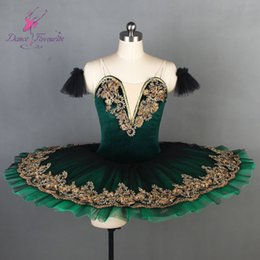 figurinos de ballet clássico Desconto Esmeralda Pré-profissional Ballet Tutu Adulto Meninas Verde Preto Clássico Traje de Balé Tutu Pancake Stage Attire Costume