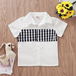 Camicia collare nera online-Camicie corte per bambini Camicie scozzesi nero bianco scozzese Camicie girocollo Ragazzo Abiti firmati Abbigliamento monopetto 2-7T 07